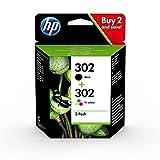 HP 302 X4D37AE, Pack de 2, Cartuchos de Tinta Originales Negro y Tricolor, (Por...